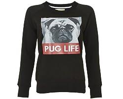 Style Divaa Ladies Printed PUG LIFE Sweatshirt Womans Celebrity Animal Print Sweatshirts