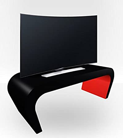 Black Outer Wedge TV Stand - Red Gloss Inner