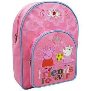 Peppa Pig Friends Forever Backpack, Front Pocket With Character Picture, Pink With Blue Trim