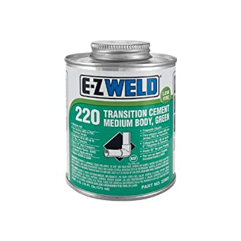 E-Z Weld 22003 Transition PVC Cement, 35 Degree F to 110 Degree F Application Temperature, 16 fl oz Can, Green (Case of 12)