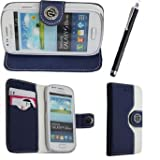 Case cover for Samsung Galaxy S3 mini i8190 Book / flip / wallet / PU leather / design / stripe / premium / stand (blu n white)