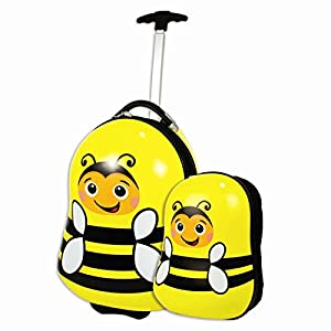 Bumble Bee Childrens Kids Travel Luggage Suitcase & Backpack Hard Shell Set - Anden Concepts®
