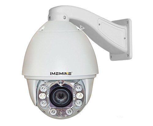 "Imemine 7"" Network Day Night Ip Camera W/ Motion Detection Object Auto Tracking 20X Optical Zoom Ir Distance 590Ft Ptz Cctv Surveillance Indoor Outdoor Dome Camera High Definition 720P 1.3Megapixel"