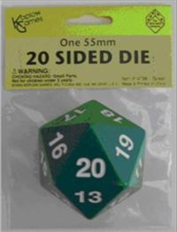 Green Jumbo Dice D20 Count Down 55mm Dice by Koplow Games
