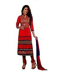 Divisha Fashions Red Cotton Unstitched Churiddar Suit with Dupatta