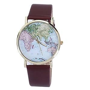 Luckysi Brown Unisex Elegant Retro Old Classic Luxury World Map Bracelet Quartz Wrist Watch with Leather Band