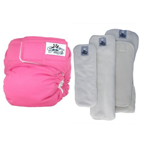 SoftBums One Size Adjustable Cloth Diaper - 4 Piece Variety Trial Pack (Bubblegum)