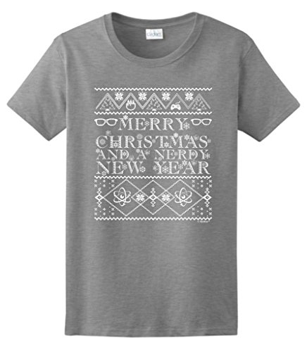 And A Nerdy New Year, Ugly Christmas Sweater Ladies T-Shirt Small Sport Grey