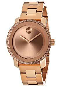 Movado Bold Diamond Rose Gold IP Stainless Steel Ladies Watch 3600151