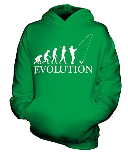 CandyMix Angeln Fischfang Evolution Des Menschen Unisex Kinder Jungen/Mädchen Kapuzenpullover, Größe 1-2 Jahre, Farbe Grün