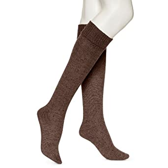 Hue Women's Chunky Tweed Knee Socks, Espresso, Medium