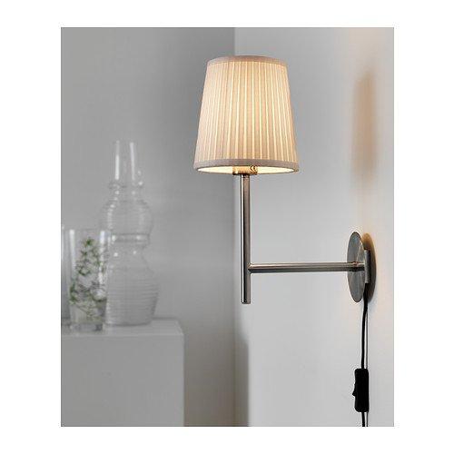 "Ikea Rodd Wall Lamp Base, Nickel Plated 9"" With 6"" Shade"