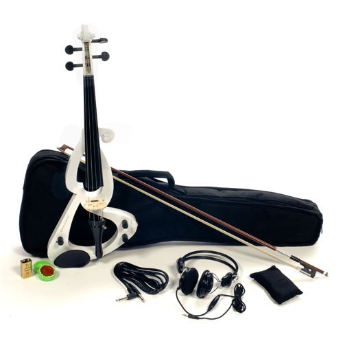 Austin Bazaar Full Size 4/4 Electric Violin Set with Case and Accessories - White