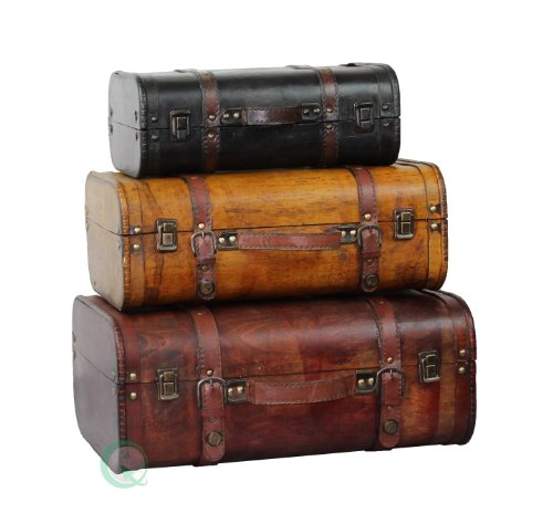Vintiquewise(TM) 3-Colored Vintage Style Luggage Suitcase/Trunk, Set of 3 0