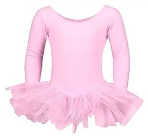 """Tutu de danse """"Alea"""" - manches longues - 3 voiles de tulle - danse classique - Rose - 140/146 11-12 ans"""