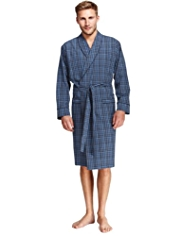 Pure Cotton Neutral Checked Dressing Gown
