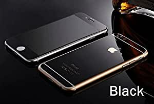 ScratchfreeTech Electroplated Mirror Finish Glossy Brushed Metal Effect Black Coloured Front & Back Tempered Glass For Apple iPhone 5,5S,5G