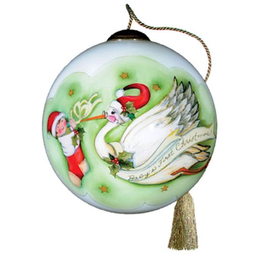 Baby's First Christmas Ornament – Ne'Qwa Art – Handpainted Glass Ornament