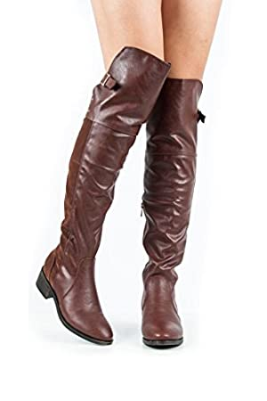 Dollhouse Women's Brown Leatherette/Faux Suede Over the Knee Flat Boot 8 M US