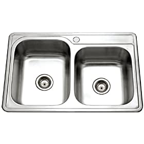 Houzer ISL-3322BS1-1 Glowtone 33-by-22-Inch 60/40 Double Bowl Top Mount Stainless Steel Sink with One Faucet Hole