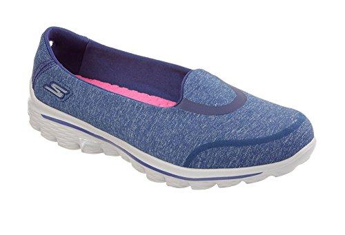 Skechers Womens GOwalk 2 Super Sock Bind Slip On,Blue,US 9.5 M (Skechers Go Walk Super Sock compare prices)