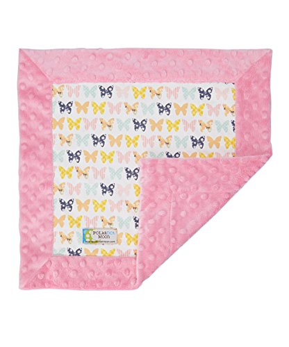 Baby LUXE Lovey/Security Blanket - Butterfly on Pink Minky - 1
