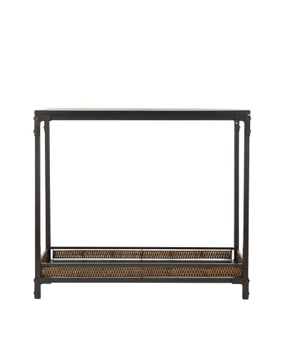 Safavieh Dinesh Console, Black Top/Dark Walnut