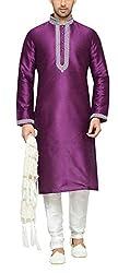 Indian Poshakh Men's Silk Sherwani (1216_42, 42, Purple and White)