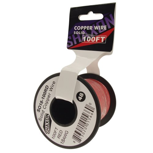 Shaxon So18-100Rd Solid Copper Wire On Spool, 100-Feet, Red