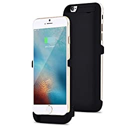 LSoug iPhone 6/6S Battery Charger Case, 5200mAh - Cell Phone Battery Pack, Back Up Power Bank, Portable Charging Case for iPhone6 6S -Black