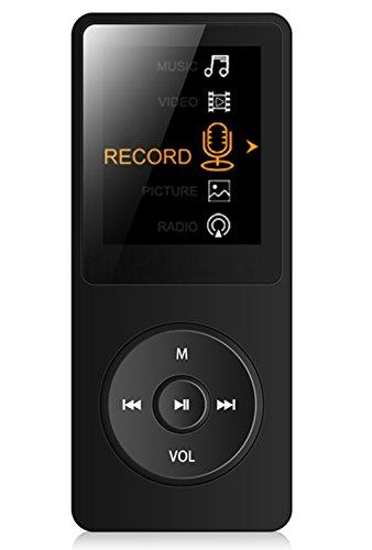 """Tabmart M01 IL lettore MP3 8 GB schermo 1,8"""" con Radio e registratore, Il tempo di riproduzione è fino a 70 ore,Nero"""