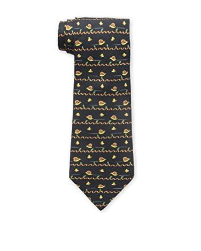 Hermès Men's Pre-Owned Snail Silk Tie, Black