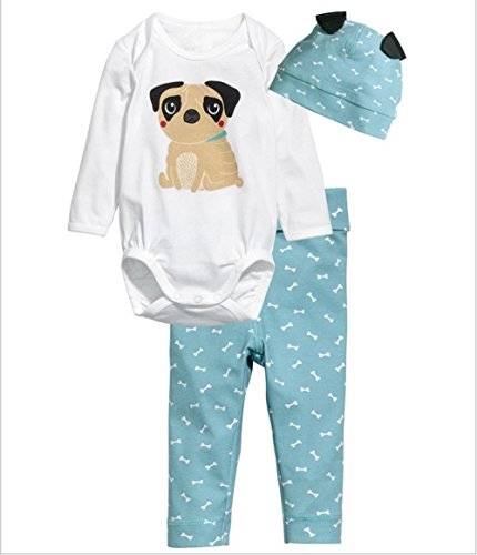 Flowerbb Baby Girl's 3 Set in 1 Cartton Dog Skirt +Pant Bodysuit Hat 18