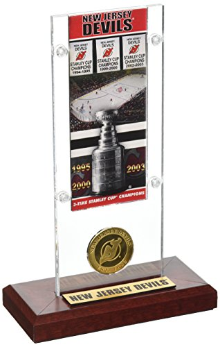 """NHL New Jersey Devils 3X Stanley Cup Champions Ticket & Coin Acrylic Display, 12"""" x 6"""" x 7"""", Bronze"""