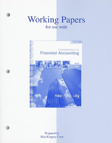 Working Papers to accompany Fundamentals of Financial Accounting, 2/e