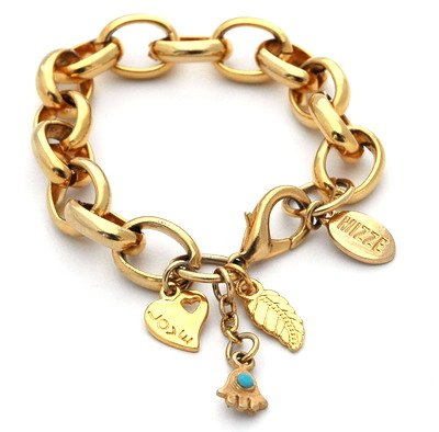Gold Link Bracelet with Hamsa Hand and Good Luck Charms