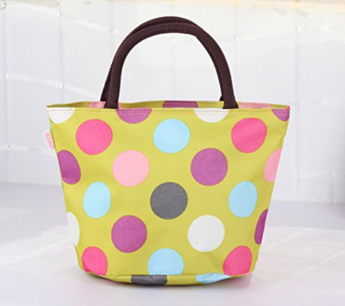 Lady Lucy Waterproof Picnic Lunch Bag, Colorful Dots, Green