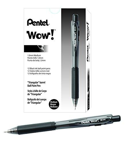 Pentel BK440-A Wow! Penna a Sfera a Scatto, Confezione da 12, Nero