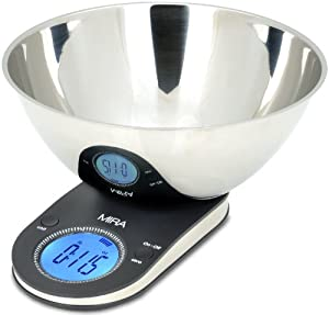 MIRA Brands Digital Kitchen Scale with Stainless Steel Bowl, 9.65-Inch, Black