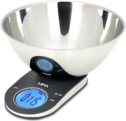 Mira Brands Digital Kitchen Scale With Stainless Steel Bowl, 9.65-Inch, Black front-371918