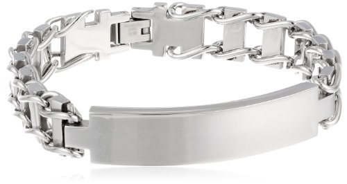 Images for Men's 12mm Railroad Stainless Steel Identification Bracelet, 8.5