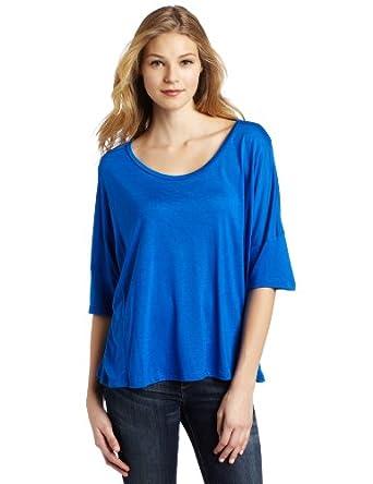 (1.6折)LnA Women's Seamed Cape Tee美国产女士宝蓝色T恤$13.31