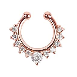 Oasis Plus White Crystal Rose Gold Fake Nose Ring Clip On Septum Hoop Non Piercing Hanger Body Jewelry