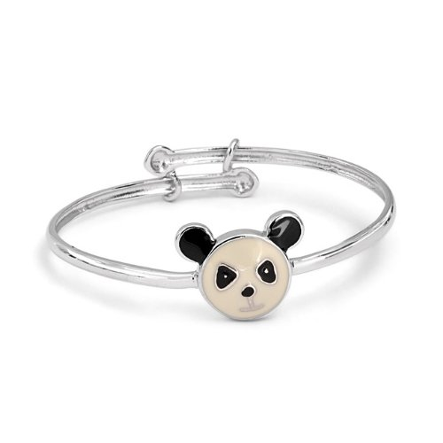 Bling Jewelry Black White Enamel Panda Bear Babys Bracelet Bangle 925 Sterling