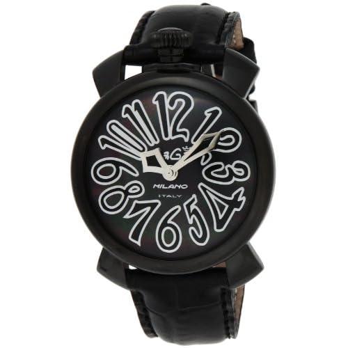 [ガガミラノ]GaGa MILANO 腕時計 マニュアーレ40mm ブラック文字盤 ステンレス/ステンレス(BKPVD)ケース カーフ革ベルト 5022.1-BLK  【並行輸入品】