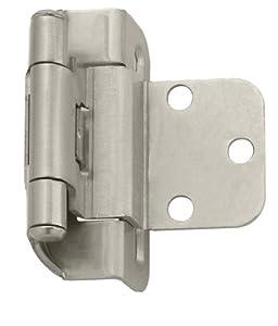 Amerock BP7565G10 Self-Closing Partial Wrap Inset Hinge, Satin Nickel, 3/8-Inch