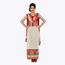 Nirali Women's Georgette Salwar Kameez UnStiched Dress Material - Free Size (Maroon And White)