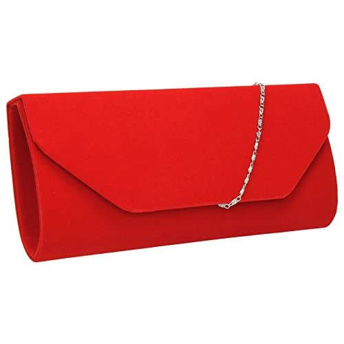 Isabella Velvet Womens Half Envelope Style Clutch Bag