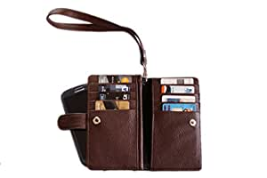 Premium Branded Fabric Leather Travel Pouch for Adcom A530 - Brown - TLPBR55#0032