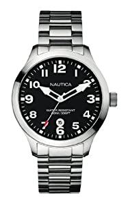 Nautica Men's Watch - A12517G With Black Dial And Stainless Steel Bracelet
